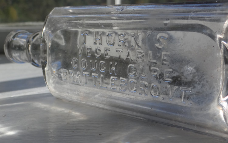 Thorns Vermont Brattleboro cure antique medicine bottle