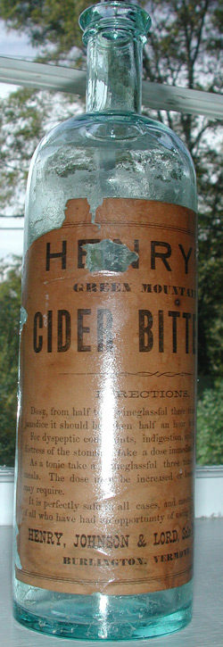 rare vermont bitters antique bottle with label henrys green mountain cider