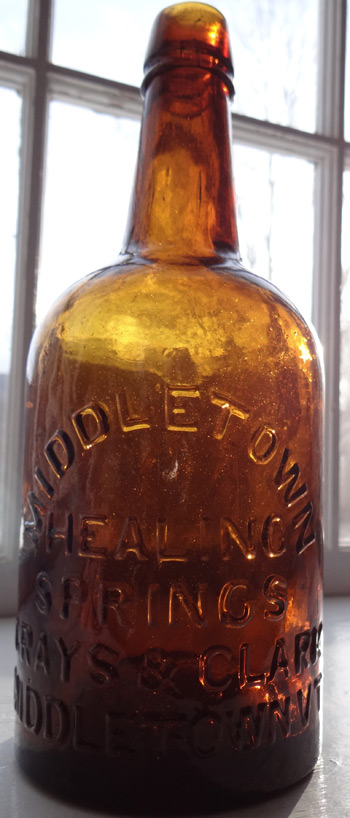 middletown vermont spring bottle saratoga springs, mineral springs stoddard antique bottle