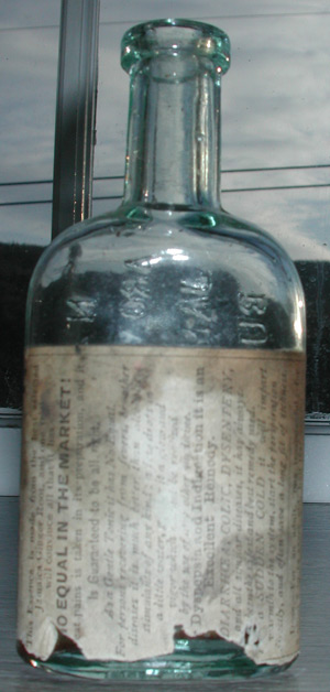 antique scroll flask iron pontil glass house new england bottle