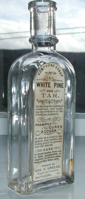 vermont labeled cure antique patent mediciine bottle